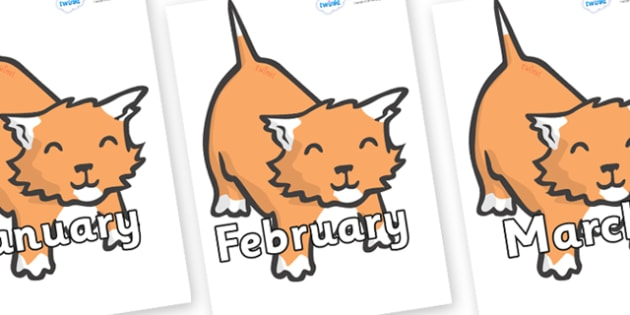 Months of the Year on Kittens - Months of the Year, Months poster, Months display, display, poster, frieze, Months, month, January, February, March, April, May, June, July, August, September