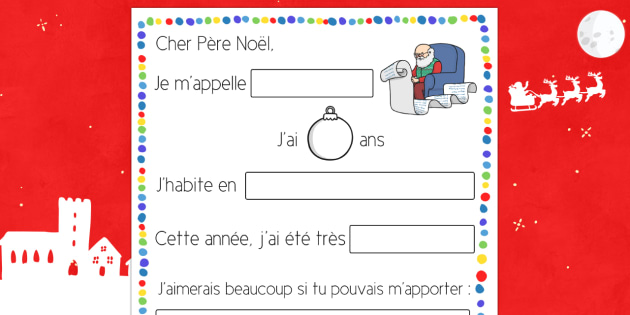 Letter to Father Christmas Procedure French - french, letter, father christmas, procedure