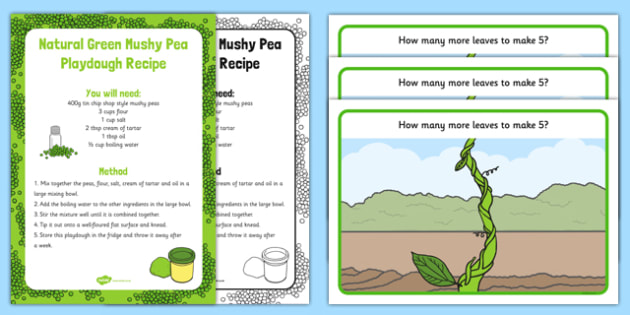 Beanstalk Leaves to Make 5 Playdough Recipe and Mat Pack - EYFS Early years, malleable physical development, UTW, Jack and the beanstalk, Jaspers beanstalk, plants and growth, growing, beans