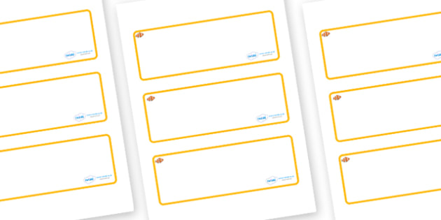 Clownfish Themed Editable Drawer-Peg-Name Labels (Blank) - Themed Classroom Label Templates, Resource Labels, Name Labels, Editable Labels, Drawer Labels, Coat Peg Labels, Peg Label, KS1 Labels, Foundation Labels, Foundation Stage Labels, Teaching La