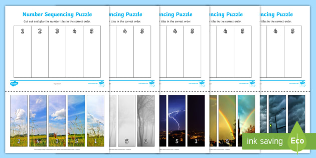 Weather-Themed Number Sequencing Photo Puzzles - numbers, games