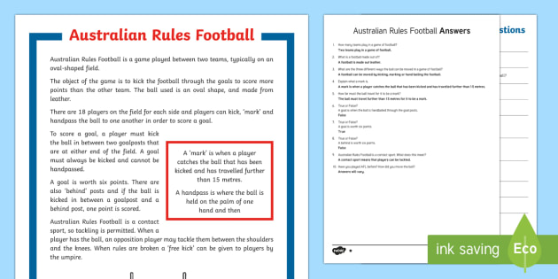 Understanding AFL Comprehension Challenge Sheet-Australia