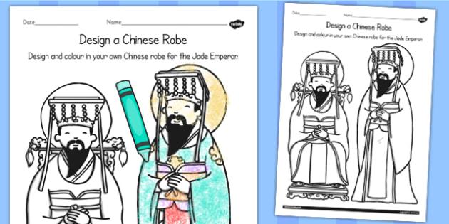 Design a Chinese Robe Worksheet - chinese, robe, Australia