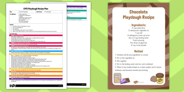 EYFS Chocolate Playdough Plan and Recipe Pack - recipe, pack