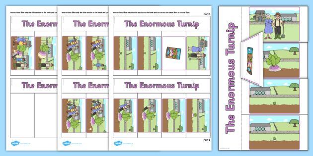 The Enormous Turnip Story Writing Flap Book - flap book, story