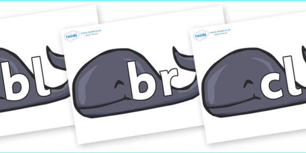 Initial Letter Blends on Whales - Initial Letters, initial letter, letter blend, letter blends, consonant, consonants, digraph, trigraph, literacy, alphabet, letters, foundation stage literacy