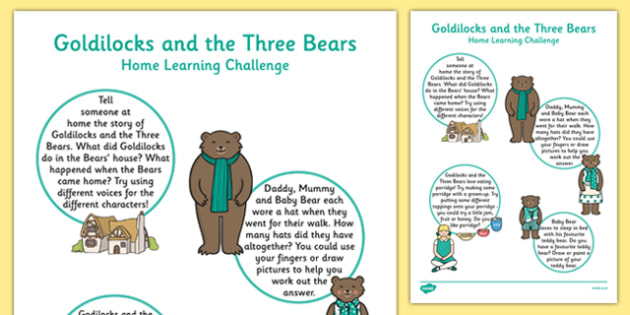 Goldilocks And The Three Bears Home Learning Challenge Sheet Nursery FS1 - EYFS, homework, Early Years, fairytales, traditional stories, nursery, foundation, parents