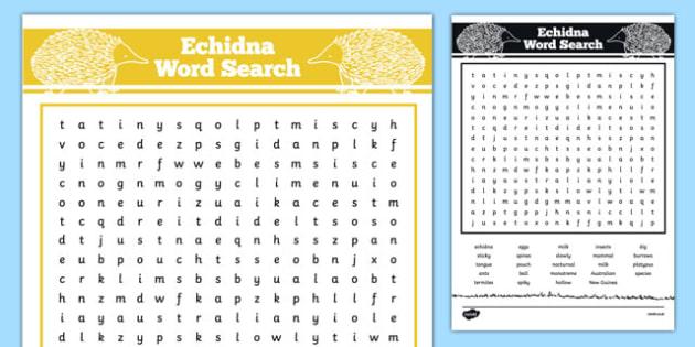 Australian Animals Years 3-6 Echidna Word Search - australia, Australian Curriculum, animals, mammals, echidnas, activity, wordsearch