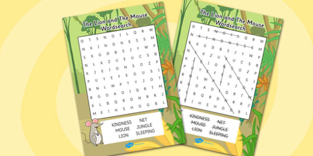 The Lion And The Mouse Wordsearch - wordsearch, word search, lion