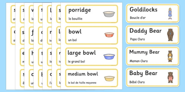 Goldilocks and the Three Bears Words Cards French Translation - french, Goldilocks and the Three Bears, traditional tales, word cards, tale, three bears, porridge, cottage, beds, flashcards