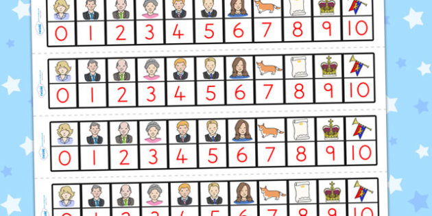 Royal Family Number Track 1 10 - count, counting, counting aid