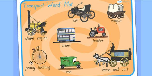 Old Transport Word Mat - transport, word mat, keywords, literacy