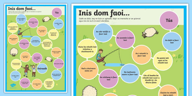 Inis dom faoi - gaeilge, getting to know, board game