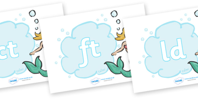 Final Letter Blends on Mermaids - Final Letters, final letter, letter blend, letter blends, consonant, consonants, digraph, trigraph, literacy, alphabet, letters, foundation stage literacy