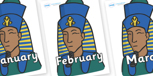 Months of the Year on Pharaohs - Months of the Year, Months poster, Months display, display, poster, frieze, Months, month, January, February, March, April, May, June, July, August, September