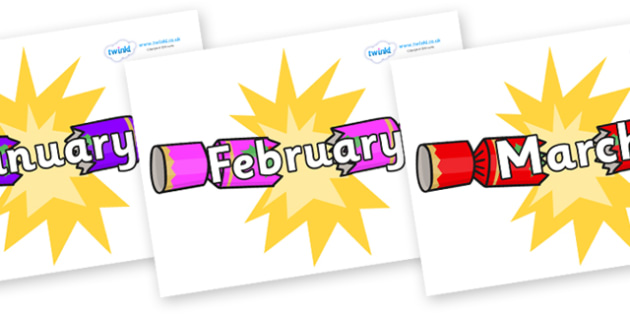 Months of the Year on Christmas Crackers (Cracking) - Months of the Year, Months poster, Months display, display, poster, frieze, Months, month, January, February, March, April, May, June, July, August, September