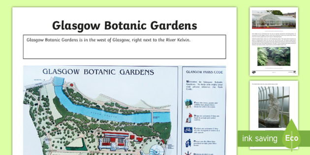 Glasgow Botanic Gardens Information and Photo Sheet-Scottish - Scottish Cities, Kibble Palace, Glasgow West End, Glasgow University, botany,Scottish