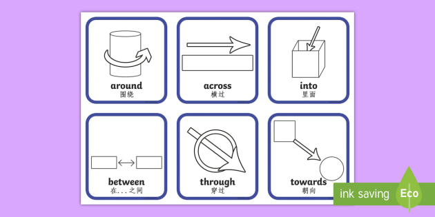 Directional Prepositions Symbol Cards English/Mandarin Chinese  - position, visual aids, prepositions, postions, preposistions, prepositons, prepostion, proposition,