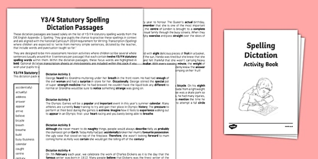 Y3/Y4 Statutory Spelling Dictation Passages Assessment Pack