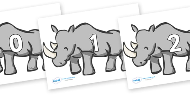 Numbers 0-31 on Rhinos - 0-31, foundation stage numeracy, Number recognition, Number flashcards, counting, number frieze, Display numbers, number posters