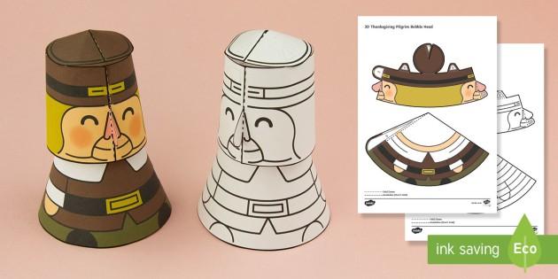 Simple 3D Thanksgiving Pilgrim Bobble Head Activity Paper Craft