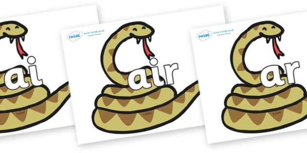 Phase 3 Phonemes on Snakes - Phonemes, phoneme, Phase 3, Phase three, Foundation, Literacy, Letters and Sounds, DfES, display