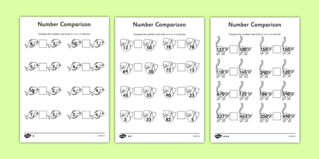 Jungle Themed Differentiated Number Comparison Worksheet - jungle