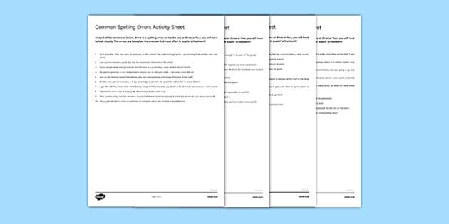 Common Spelling Errors Activity Sheet Pack - spelling, common misspelling, errors, proof reading, checking, SPAG, worksheet