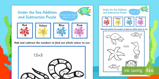 Under the Sea Themed Addition and Subtraction Puzzle 0-20 - under the sea, under the sea numeracy puzzle, under the addition, under the sea subtraction