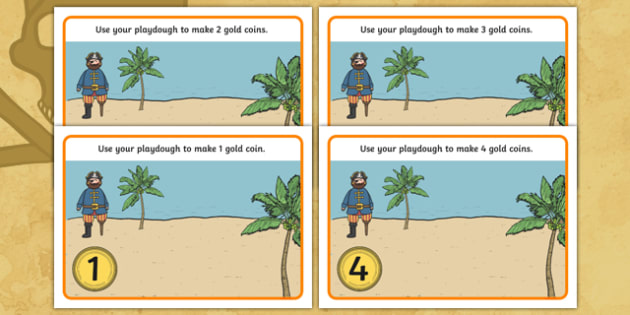 Pirate Numeracy Playdough Mats