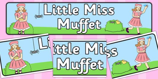 Little Miss Muffet Display Banner - Little Miss Muffet, nursery rhyme, banner, rhyme, rhyming, nursery rhyme story, nursery rhymes, Little Miss Muffet resources