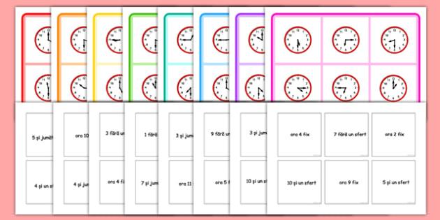 Citirea ceasului - Joc Bingo