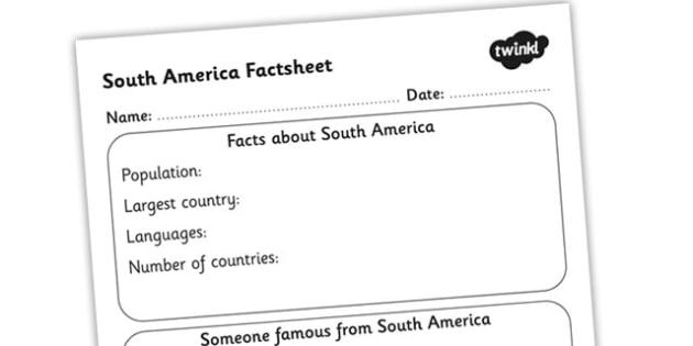 South America Factsheet Writing Template - south america, south america fact sheet, south america fact file, south america worksheet, ks2 geography
