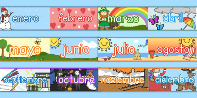 Months of the Year Display Borders Spanish - spanish, months, year, display borders