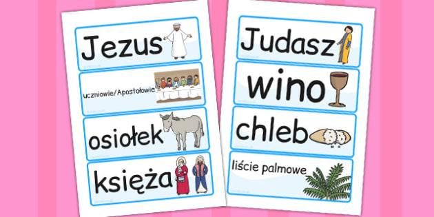 Karty ze slownictwem Wielkanoc po polsku - dzieci, szkola , Polish