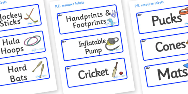 Whale Themed Editable PE Resource Labels - Themed PE label, PE equipment, PE, physical education, PE cupboard, PE, physical development, quoits, cones, bats, balls, Resource Label, Editable Labels, KS1 Labels, Foundation Labels, Foundation Stage Labe
