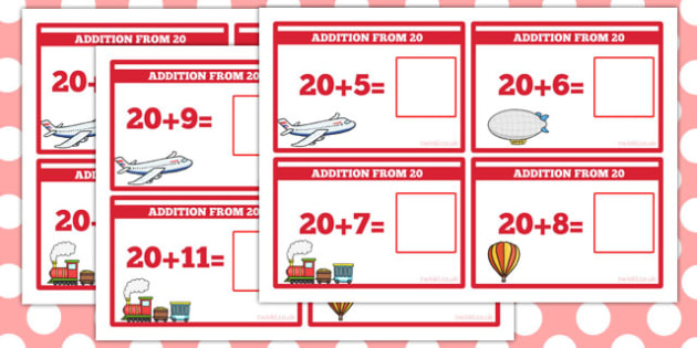 Addition from 20 Sum Cards - addition to 20, cards, numbers, add, 20