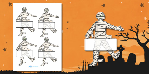 Editable Halloween Mummy Self Registration - Halloween, pumpkin, witch, bat, scary, black cat, Self registration, register, editable, labels, registration, child name label, printable labels, mummy, grave stone, cauldron, broomstick, haunted house, p