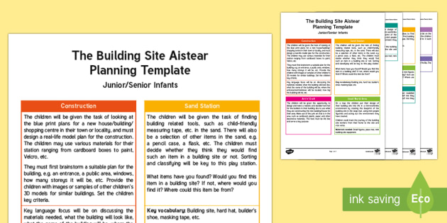 The Building Site Aistear Planning Template - Aistear, Infants, English Oral Language, School, The Garda Station, The Hairdressers, The Airport, T