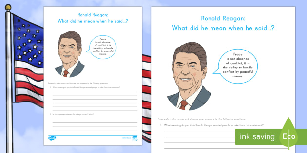 Ronald Reagan: What did he mean? Research and Discussion Activity Sheet - American Presidents, American History, Social Studies, Barack Obama, Lyndon B. Johnson, Franklin D.