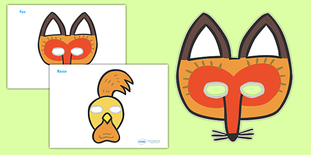 Story Role Play Masks to Support Teaching on Rosie's Walk - Rosie's Walk, story, Pat Hutchins, book, role play, role play masks, mask, resources, Rosie, fox, farm, story book, story resources, Rosie Walk