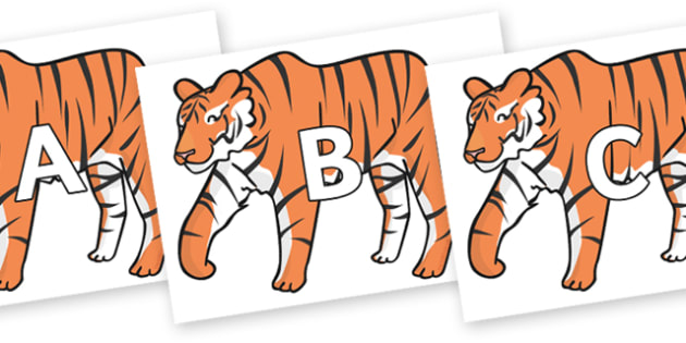 A-Z Alphabet on Chinese New Year Tiger - A-Z, A4, display, Alphabet frieze, Display letters, Letter posters, A-Z letters, Alphabet flashcards