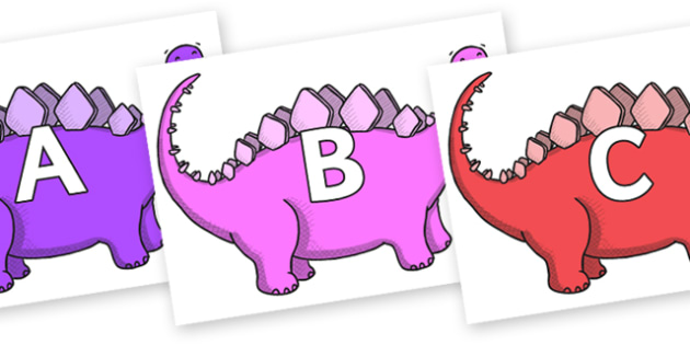 A-Z Alphabet on Stegosaurus - A-Z, A4, display, Alphabet frieze, Display letters, Letter posters, A-Z letters, Alphabet flashcards