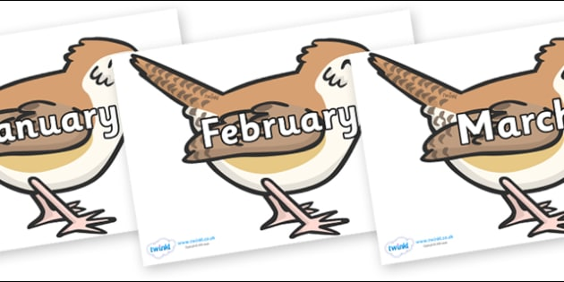 Months of the Year on Wrens - Months of the Year, Months poster, Months display, display, poster, frieze, Months, month, January, February, March, April, May, June, July, August, September