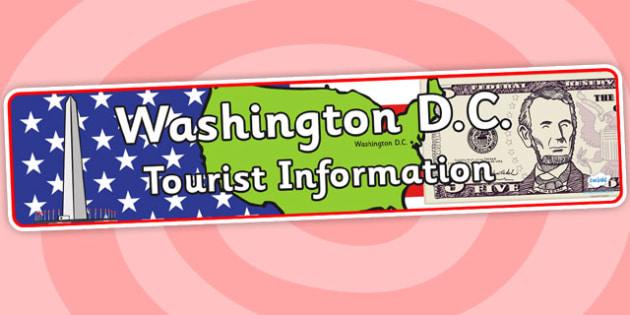 Washington DC Tourist Information Role Play Banner-washington DC, tourist information, role play, banner, role play banner, tourist banner
