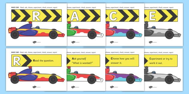 RACE CAR Problem Solving Display Posters - RACE CAR, race car, problem solving, problems, solving problems, solutions, display, poster, sign, banner, solve, problem, solution, solving