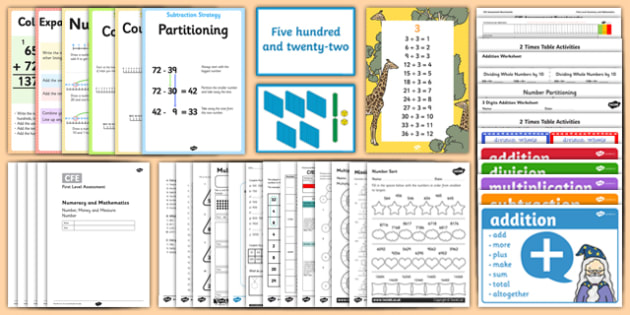 CfE Mathematics-First Level- Number and Number Processes Resource Pack