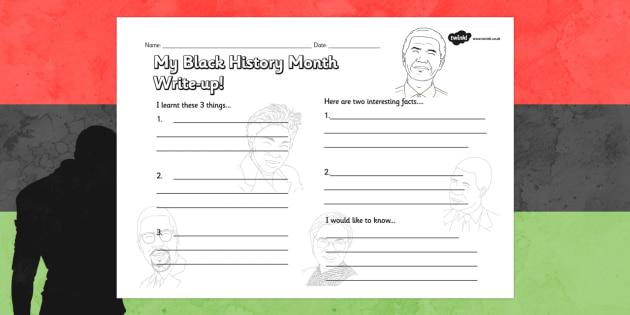 Black History Month Write Up Worksheet - black history month, write up, worksheet, write