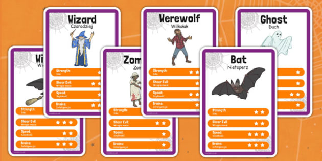 Halloween Character Card Game Polish Translation - polish, halloween, character, card game, top trumps, festival, celebration