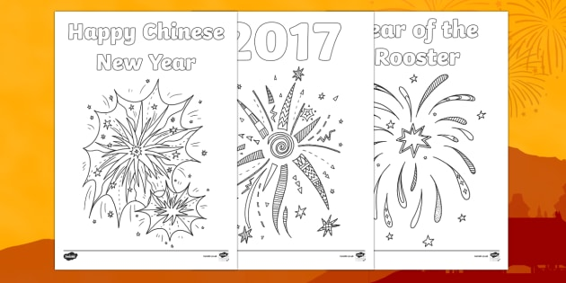 Chinese New Year Fireworks Colouring Pages